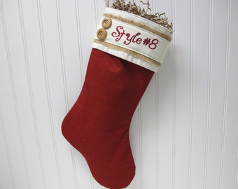 Christmas Stocking in red burlap and 2 buttons - Style #8