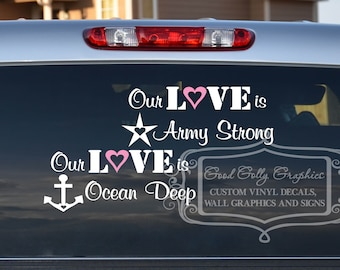 Military decal: Our love is...Army, Navy, Marines, Air Force, Coast Guard and National Guard etc