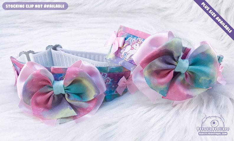 BDSM Garter Harajuku Garter Unicorn Splash Adjustable Thigh Garter Set Plus Size Available Bondage Thigh Garter Set Kitten Play Garters