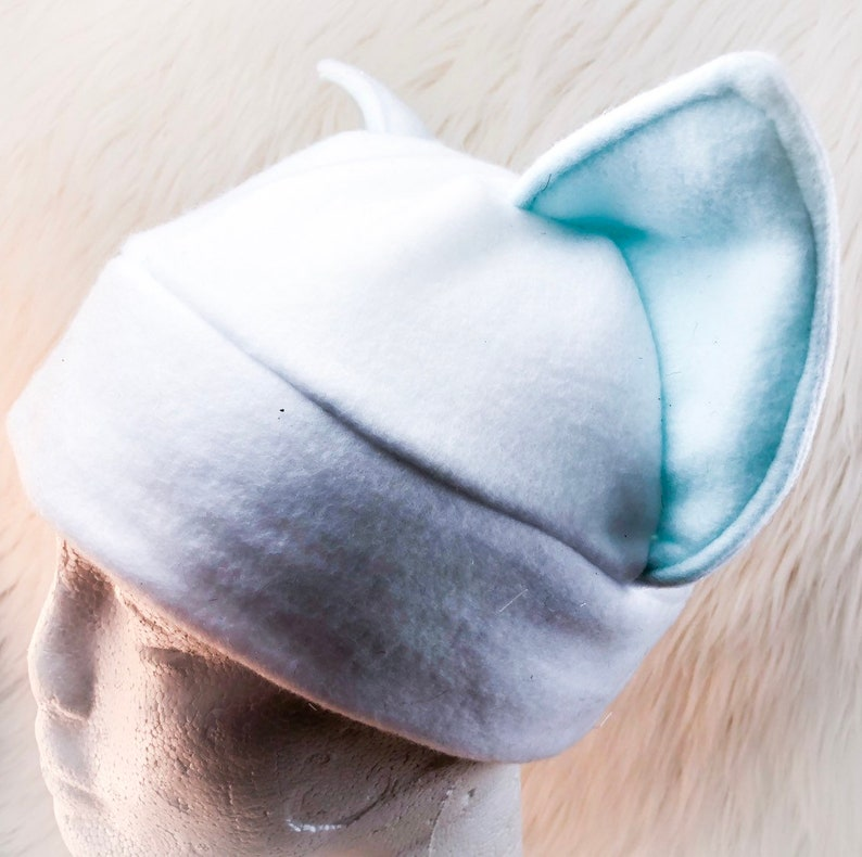 White and Mint Cat Ear Hat Cute Demensional Kitten Hat