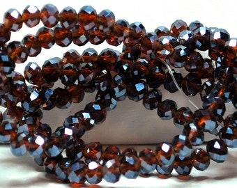Faceted Rondelle Crystal Glass Beads 3x4mm Antique Copper Metallic Color #BZ04-163 145pcs