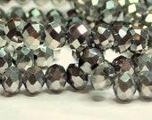 85 pcs 4x3mm Metallic Antique Silver Faceted Rondelle Glass Beads MAS