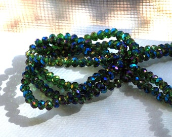 25 pcs 4x3mm Transparent Dark Green with Firepolished Rainbow Faceted Rondelle Glass Beads DG/FR