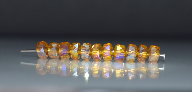 New Shape 19 pcs 6x4mm Dark Gold Light Amber AB Rainbow Gold Wheel Heishi Coin Donut Shaped Spacer Faceted Rondelle Glass Beads TGAB