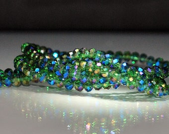 24 pcs 6x4mm Transparent Dark Green with Firepolished Rainbow Faceted Rondelle Glass Beads DG/FR
