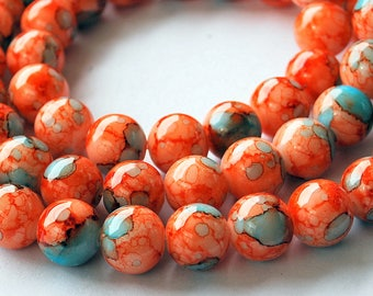 12 pcs 8mm Round Dark Orange Persimmon, Turquoise Pale Blue and White Mottled Watermark Glass Beads