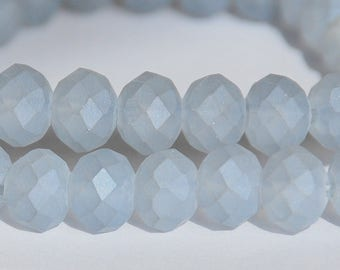 25 pcs 6x4mm Frost Pale Gray Faceted Rondelle Glass Beads  FPG-1