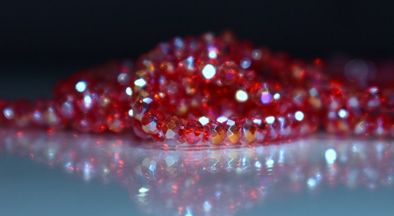 90 pcs 3x2mm Transparent Red Fire Polished Rainbow Peacock and Gold Faceted Rondelle Glass Beads  RRG