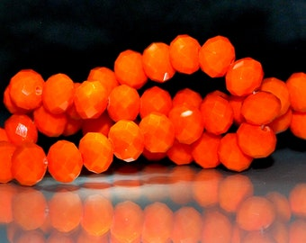 20 pcs 10x8mm Faceted Opaque Orange Persimmon Rondelle Glass Beads   OO