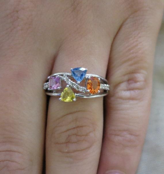 14k WhiteGold Over 2.30Ct Princess Cut Rainbow Sapphire /& Diamond Stud Earrings