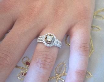 18K White gold Champaign Diamond engagement ring.