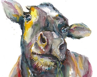 "Cow - 14""x11"" original watercolor painting"