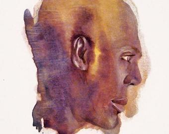 "Portrait study / 14"" x 11"" original watercolor"