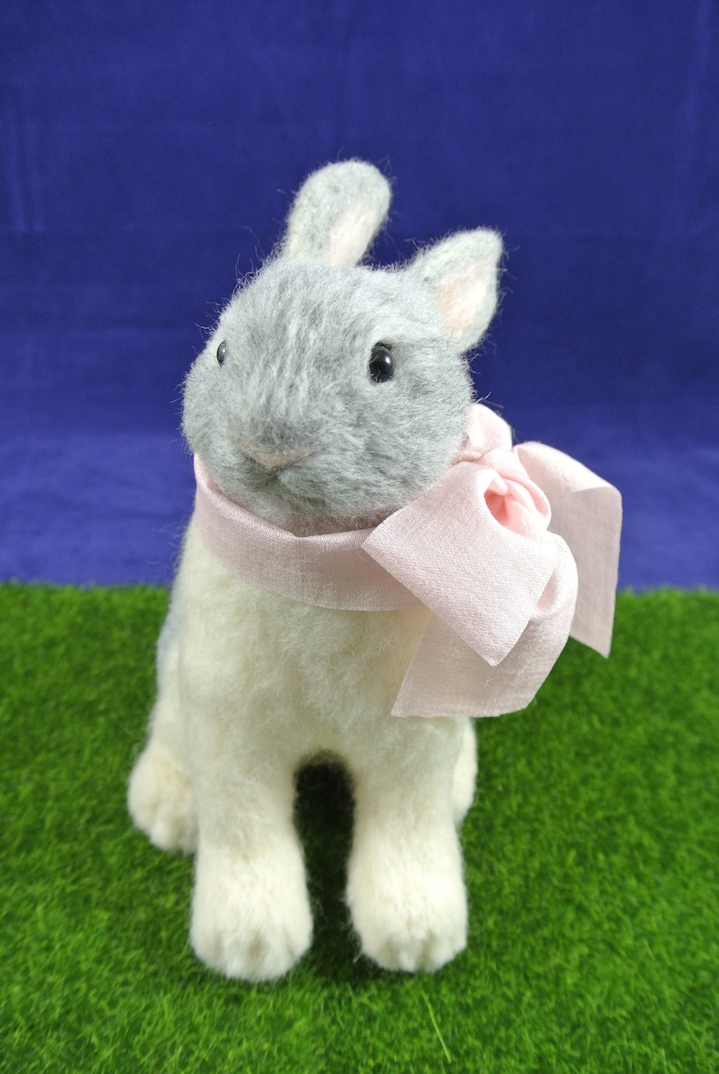 wool felted figure Needle Felted Rabbit with bow felted animal