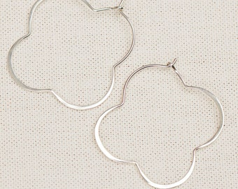 Scallop Sterling Silver Clover Hoops