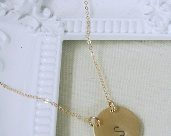 Single Initial Personalized Stamped Brass Gold Disc Necklace
