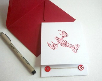 Hand Painted Lobster - 24 Card Set - Nautical Cards- Beach Wedding - Thank You Cards - Custom Note Cards - You Are My Lobster - Seafood -Red