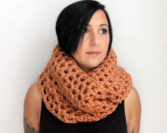 Champagne Infinity Scarf, Rose Gold Oversized Chunky Scarf, Extra Wide Crochet Scarf, Crocheted Infinity Scarf,  Winter Accessories