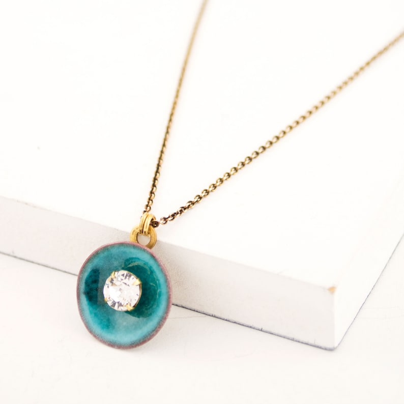 Turquoise pendant necklace Vintage style necklace Clear crystal /& dainty chain necklace with glass enamel pendant Sea blue pendant