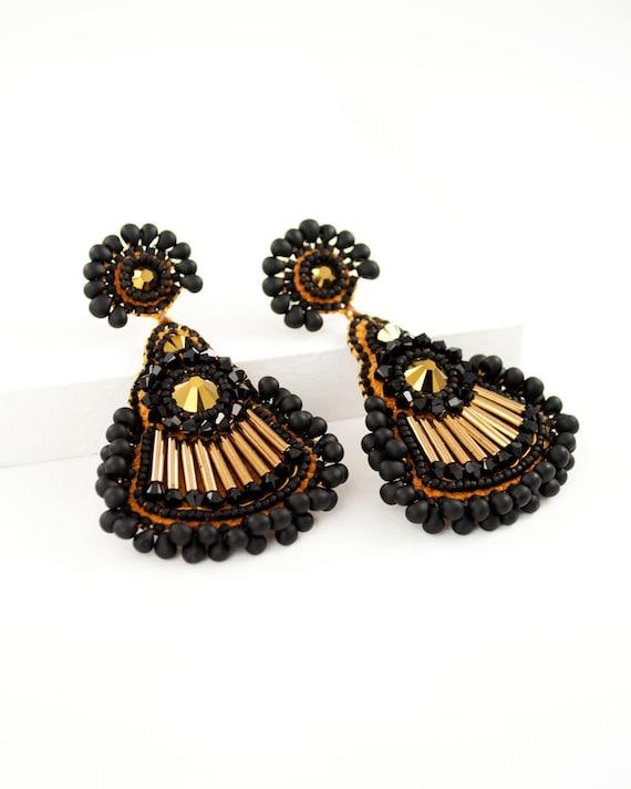 Beaded earrings Chandelier Dangle Earrings Statement Earrings Sterling Silver Earrings Large Earrings Bead Embroidered Earrings