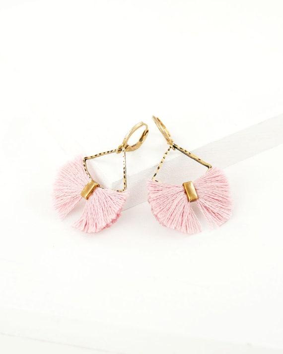 3390c855424 Pink tassel earrings | fan earrings | pink dangle earrings | pink gold  earrings | brass dangle earrings | elegant spring summer earrings