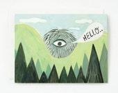 Peeking Giant Hello Card 1pc