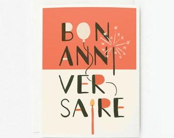 Bon Anniversaire Card 1pc