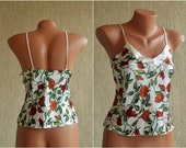 Romantic Vintage Satin Pijama Tank size M White Print Camisole Flower Short Night Gown Hennes Mauritz Summer Women Top