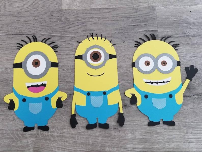 Minion Birthday Minion Decorations Set Of 3 Diecut Cardstock Etsy