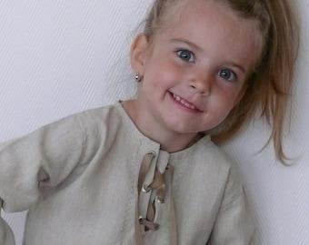 Soft linen shirt for children, beach tunic, Kids boho shirt , medieval linen shirt 5months -12 years