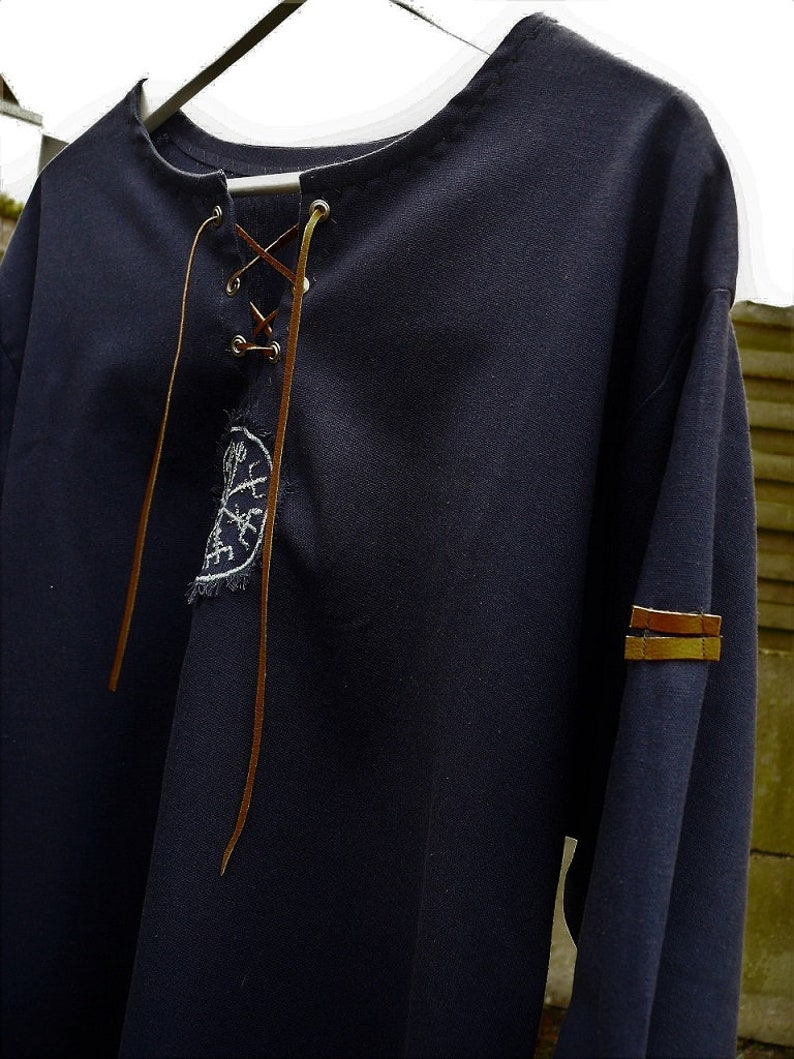 Linen man shirt with ancient viking embroidery and leather belts  custom order extra long