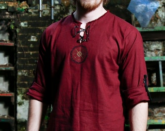 Red linen viking men shirt with ancient vegvisir / nordic compas and celtic embroidery