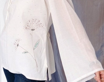 Peasant linen hand painted top