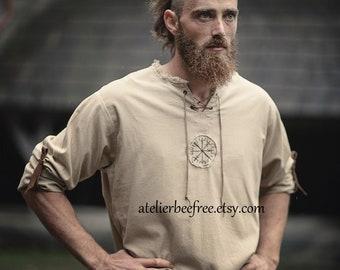 Casual linen shirt  Viking / Norse vegvisir embroidery and leather belts, long sleeves tunic, hand made in Belgium