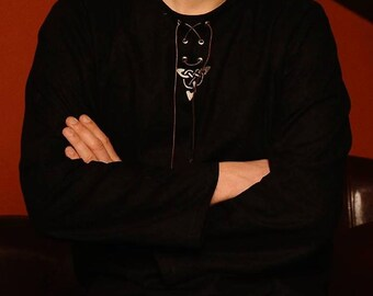 Black medieval shirt with celtic embroidery leather cords and metallic eyelets