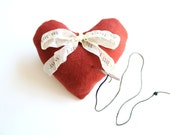 Lavender Sachet / Personalized Ring Bearer pillow alternative , red heart pincushion , unique gifts for mom , heart shaped pin cushion