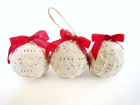 Wedding Gift Ornaments: Items Similar To 3 Personalized Christmas Ornament