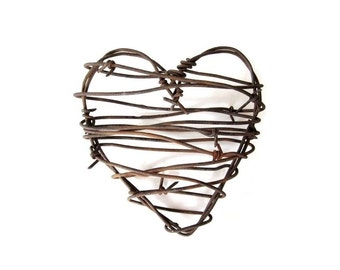 Old Barbed Wire Heart . Cowboy Decor. Rusty Metal Heart . rustic man gifts . western decor . rustic decor . rustic heart decor