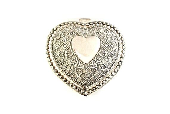 Large Wedding Ring Box , heart ring box , silver r