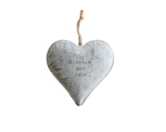 Metal Heart / 11 year anniversary . steel anniversary gift for her . steel heart . galvanized decor. industrial decor . puffy heart