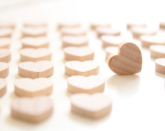 100 Small Wooden Hearts , 1/2 inch small wood hearts , little hearts