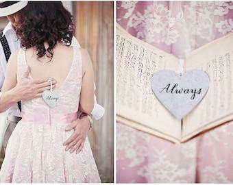 Personalized Tin Heart / rustic wedding decor . metal heart . heart ornaments . galvanized ornaments