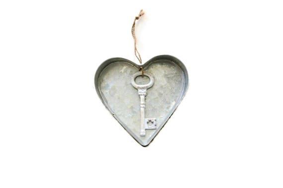 Metal Heart Ornament Key Ornament Metal Heart Wall Art Etsy