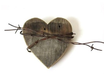 Barbed Wire Heart - Wooden Heart Sign, wooden anniversary gift, 5 year anniversary gift, 5th anniversary gift for him, gift for her