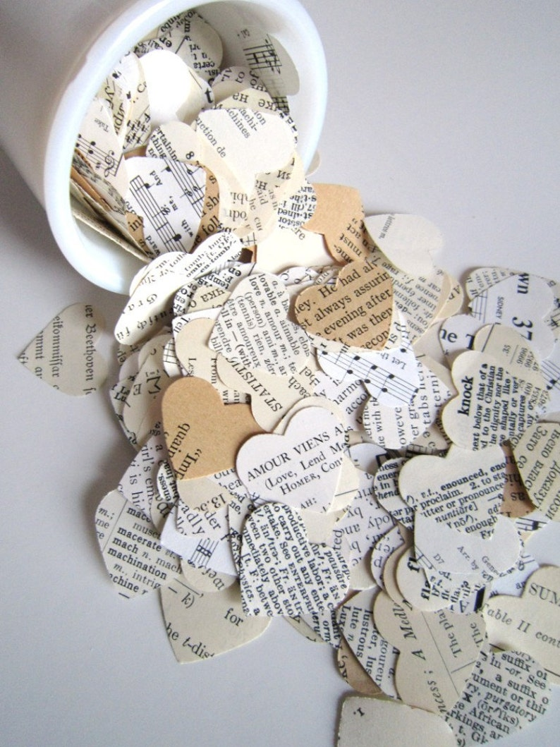 Romantic Heart Confetti / vintage wedding decor . paper hearts image 0