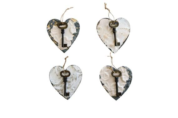 Be Still My Heart vintage tin earrings