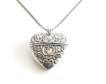 Vintage Sterling Silver Heart Vial Necklace . compartment necklace . keepsake locket . stash necklace . secret message necklace