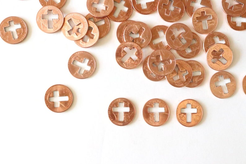 Cross Pennies / cross favors, vbs gifts, vbs crafts, cross charms bulk,  copper cross, religious charms, missions, missionary gift
