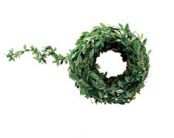 Miniature boxwood garland . mini garland .  artificial boxwood . wired ribbon . miniature garland . christmas boxwood wired christmas ribbon