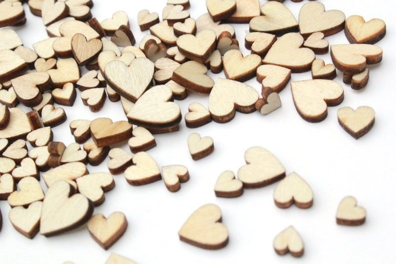 100 Tiny Wooden Hearts . Wedding Confetti . heart confetti image 0